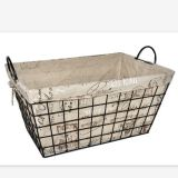 Rectangle wire storage basket with fabric liner