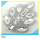 Heat Transfer Glass Stone Decals Horse Eye Mix Rectangle Rhinestone Leaf Applique 4x6.5cm
