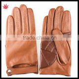 2015 new style brown sheepskin and pu leather gloves with belt                                                                         Quality Choice