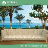 China fashion simple design four seaters rattan long bench sofa chair for white outdoor furniture