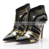 New arrival of April 2015 cool lady shoe gold & black leather shoe lady sandal shoe fashion ankle boots sandals
