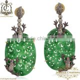 925 Silver Gemstone Diamond Carving Jewelry, Green Agate Handcrafted Carving Dangle Earrings, Diamond Pave Earrings