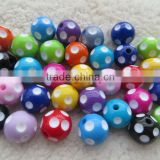 Cheapest Wholesales price hot sale Mixed colors 2014 20mm acrylic resin polka dot beads for Kids Girls Chunky Necklace Jewelry