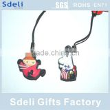 custom animal phone accessory double sides soft pvc mobile phone straps