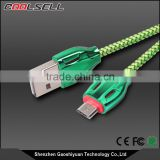 High Speed Colorful Snake Skin Nylon Braided Micro USB Data Sync Micro USB Cable for Android Phone