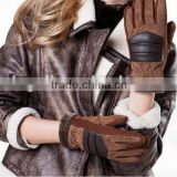 2014 Women Fahion Brown Suede Leather Glove