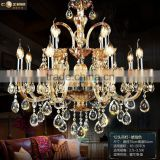 Modern Luxury Hotel Lobby Chandeliers Lighting Amber Colored Glass Chandelier Crystal Hanging Lighting Fixture CZ3019/12A