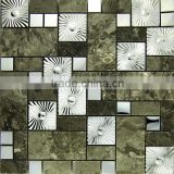 Stone mosaic sheet mixed by metal mosaic tile-wall decoration mosaic tile--nice building material