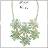 Yiwu jewelry wholesale choker handmade statement necklace with six green flowers & long gold chain
