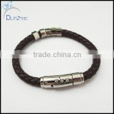 Stainless Steel Thick Black Leather Bands Bracelet