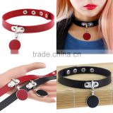 Japanese Anime Sailor Moon Rock Harajuku Gothic Punk Style Multi Color Alloy Round Pendant PU Leather Choker Necklace