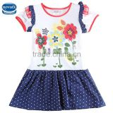 (h5886D)White 2-6Y wholesale baby girl dress summer flower dress for girls new design fresh stock