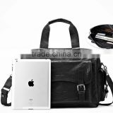 European style high quality tote travel business bag,PU leather black foldable duffel bag,lightweight portable messenger bag