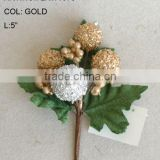 "New Artificial Christmas Gold Flower Pick 5"" Artificial Fruit Flower With Berries And Leaf"