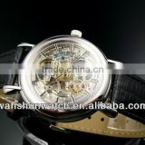 factory custom mens' top brands genuine leather luxury automatic mechanical watch
