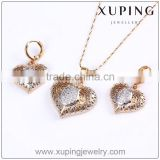 New fashion jewelry set, gold plated earring and pendant necklace costume jewellery, sweet heart jewellery sets