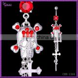 Yiwu Factory Fashion Jewelry Red Gem Skull Belly Button Piercing Rings