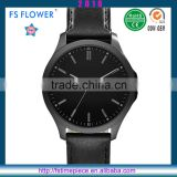 FS FLOWER - Classical Men Watch Black Case Leather Watch Strap Quartz Stainless Steel Back Watch