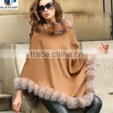 Plus Size Women Poncho 10% Cashmere 90% Wool Pashmina Shawl with Crystal Fox Fur Collar