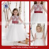Fl01 Sleeveless Ankle Length Layered Flower Girl Dress With Waistband