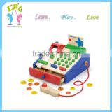 Wooden toy supplier high quaity solid wood math learning toys Large calculator cash register baby wood toy