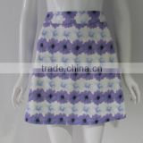Pretty steps 2015 young ladies fashion sexy pictures of pictures of purple flower printed a-line skirt