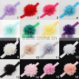 Promotional colorful yarn baby flower elastic headband, kids baby flower headband wholesale