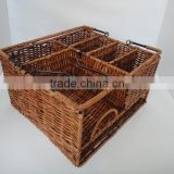 Picnic Caddy Organizer Outdoor Utensil Plate Condiment Holder Portable Basket