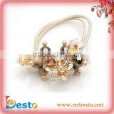 SF0304W Handmade white elastic bead hair decoration with rhinestone for girl&baby
