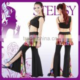 STELISY 2015 adult sexy black top and floral pant skirt belly dance costumes for practice