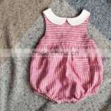 Summer mix pink and white girl jumpsuit High quality little girl model top 100 Striped lovely collar baby romper