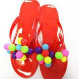 2016 Fashion Ladies Slippers PVC Material With Beartiful Flowers Outdoor Flat Flip-flops