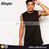 2016 fashion men all black 100% cotton longline sleeveless tshirts wholesale blank tee shirts china