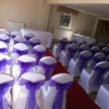 spandex banquet chair cover and organza wedding chair sash