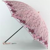 Hand  Embroidery Double Folding Umbrella with Super UV Protection