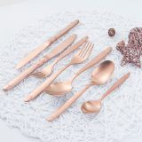 PVD Coating Guangzhou Simple Carved Round Cutlery Set Rose Gold