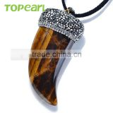 Topearl Jewelry Tiger Eye Horn Men Pendant Rhinestones Clay Pave SPW02