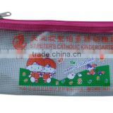 Factory white plastic mesh pencil case for office and student zipper lock stationery bag with logo