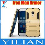 New For Meizu MX5/PRO5 /Pro6 Hard Case Cover Iron Man Armor 3D Phone Cases for Meizu Metal M3 note armor Stand Holder Cover Case