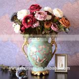 Beauty crown qunfang, High simulation artificial flowers The living room floor decoration Classic vintage tea mei/European 3 hea