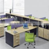 Modern Wood Desk Bookcase Combination 6 Person Office Workstation (SZ-WS252)