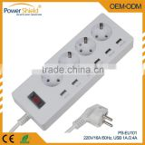 Germany/Deutschland Movable Desktop extension power socket Standard Grounding Earthing with Surge Protector 220V 16A with CE