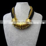 22k fashion gold kundan necklace set with black beads chain