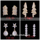 Women Jewelry Type 24k Gold Plated Dubai Copper Drop Earring Stub Wholesale Wedding Accessories