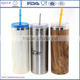 New Design Double Stainless steel insulate starbucks tumbler with ps lid and metal straw for cold drink