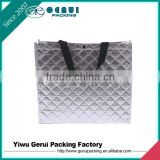 Silver colour promotional cheap embossed non woven shopping bags