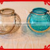 Glass & Rope candle holder or bowl vase, Tan Clear and Sea Blue Green