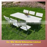 7PK black or white rattan patio outdoor portable folding table and folding chair garden set