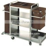 Stainless Steel and Wood Hotel Housekeeping Carts Service Maid Trolley/laundry trolley housekeeping carts