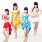 Hot Sale 4 Colors Kids Costume 8-15 Years Tassel Skirt Backless Top with Sequin Arm Sleeves Latin Dance Dress for Girls
